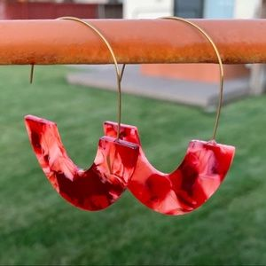 Jewelry - Red Acrylic Geometric Earrings